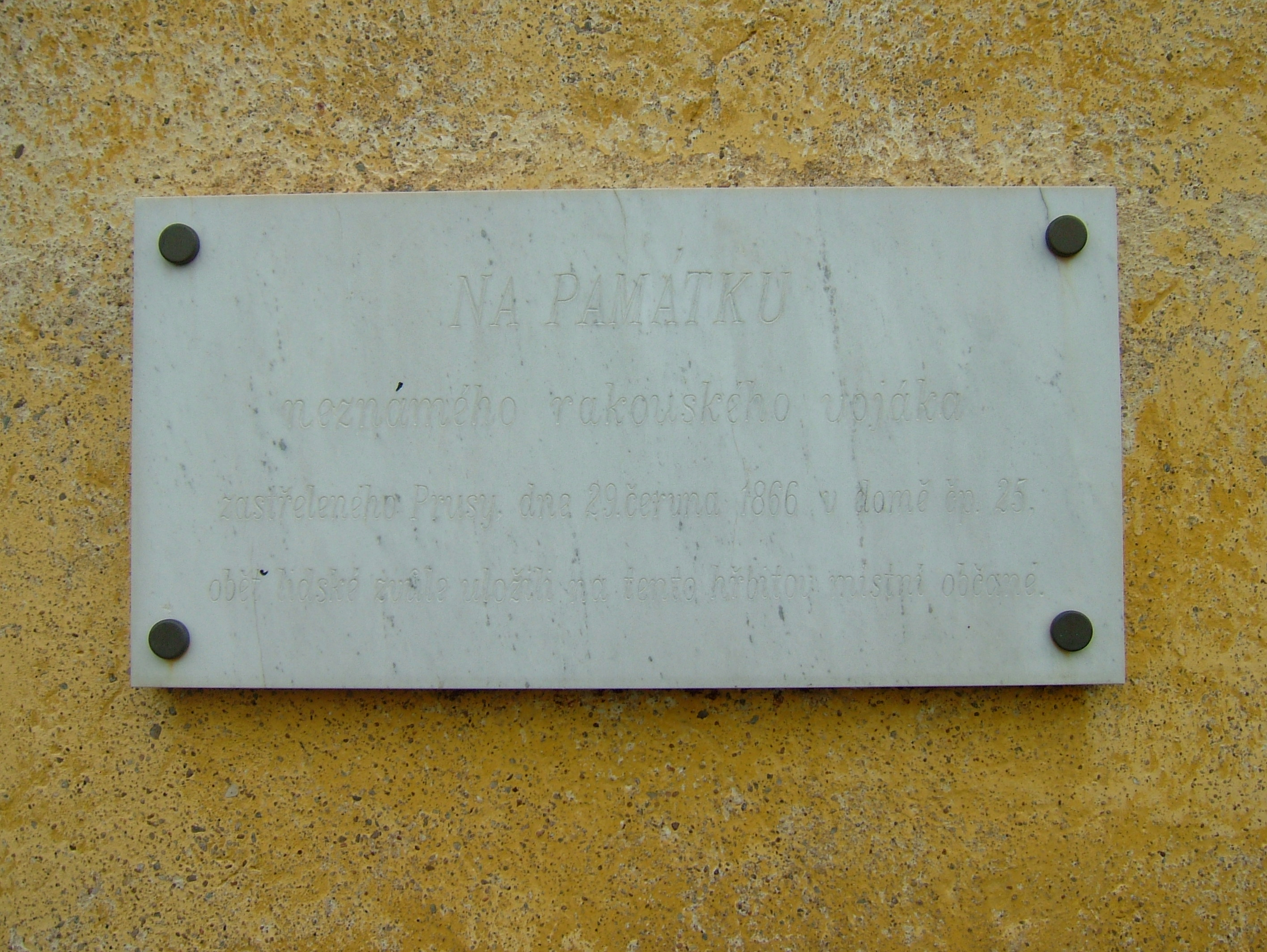 Pamětní deska na památku rakouského vojáka